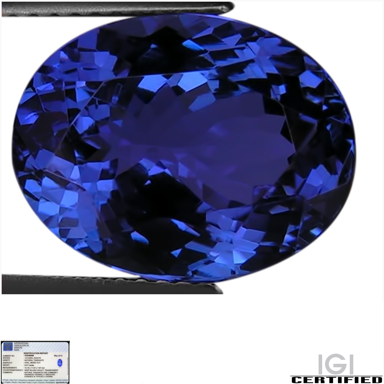 itm a block natural great cut d grade certified gemstone ct blue investment cushion violet easy tanzanite igi liquidity